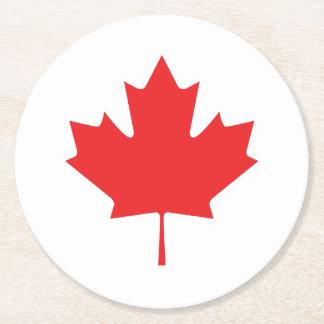 Feuille d'érable canadienne dessous-de-verre rond en papier
