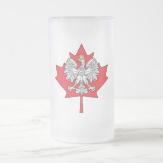 Feuille d'érable canadienne polonaise frosted glass beer mug