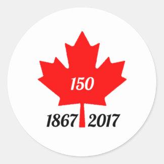 Feuille d'érable du Canada 150 en 2017 Sticker Rond