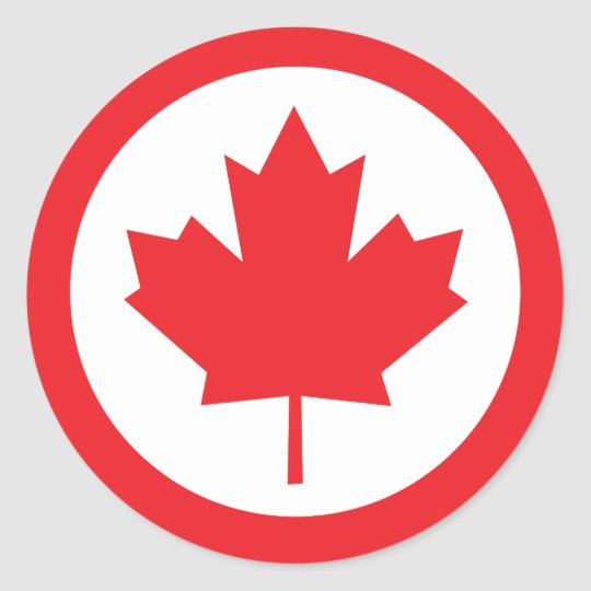 feuille d233rable du canada sticker rond zazzle