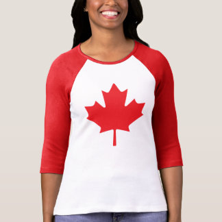 Feuille d'érable rouge canadienne de drapeau t-shirt