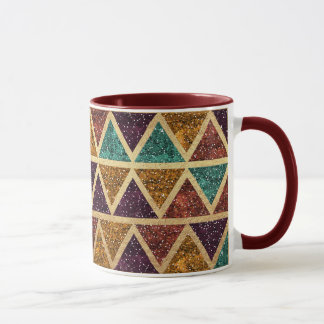 Feuille d'or chique de triangles de scintillement mug