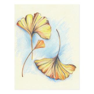 Feuille d'or de Ginkgo d'automne Cartes Postales