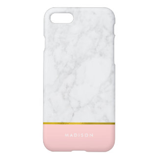 Feuille d'or de marbre rose de motif et de Faux Coque iPhone 7