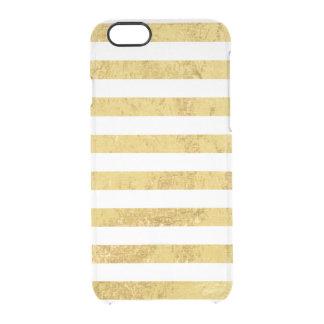 Feuille d'or élégante et motif blanc de rayure coque iPhone 6/6S