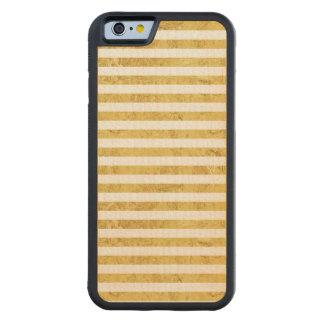 Feuille d'or élégante et motif blanc de rayure coque iPhone 6 bumper en érable