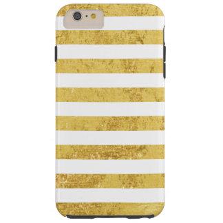 Feuille d'or élégante et motif blanc de rayure coque iPhone 6 plus tough