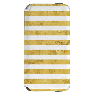 Feuille d'or élégante et motif blanc de rayure coque-portefeuille iPhone 6 incipio watson™