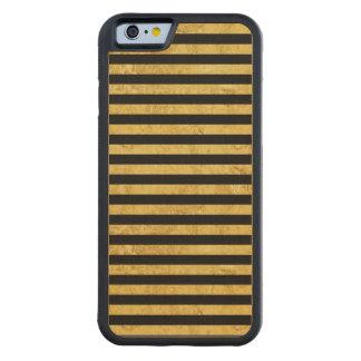 Feuille d'or élégante et motif noir de rayure coque iPhone 6 bumper en érable