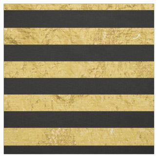 Feuille d'or élégante et motif noir de rayure tissu