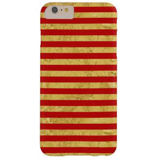 Feuille d'or élégante et motif rouge de rayure coque barely there iPhone 6 plus