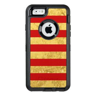 Feuille d'or élégante et motif rouge de rayure coque OtterBox iPhone 6/6s