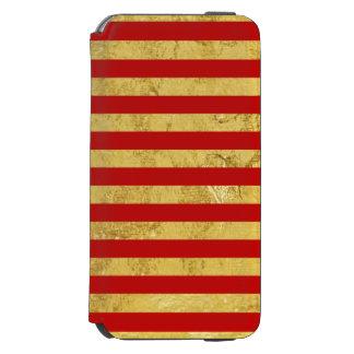 Feuille d'or élégante et motif rouge de rayure coque-portefeuille iPhone 6 incipio watson™