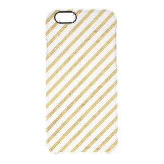 Feuille d'or et motif diagonal blanc de rayures coque iPhone 6/6S