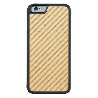 Feuille d'or et motif diagonal blanc de rayures coque iPhone 6 bumper en érable