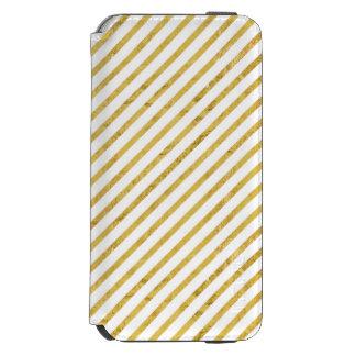 Feuille d'or et motif diagonal blanc de rayures coque-portefeuille iPhone 6 incipio watson™