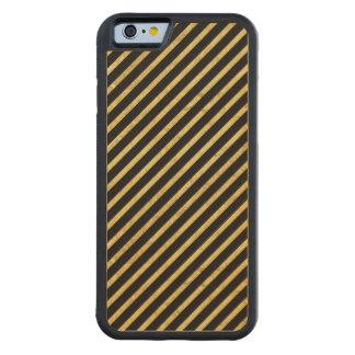 Feuille d'or et motif diagonal de rayures de noir coque iPhone 6 bumper en érable