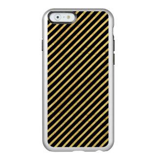 Feuille d'or et motif diagonal de rayures de noir coque iPhone 6 incipio feather® shine