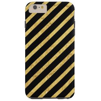 Feuille d'or et motif diagonal de rayures de noir coque tough iPhone 6 plus