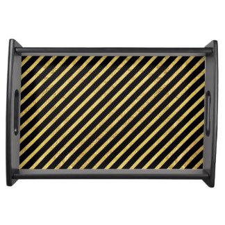Feuille d'or et motif diagonal de rayures de noir plateaux de service