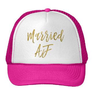 Feuille d'or mariée d'AF et casquette blanc de