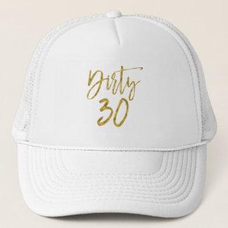Feuille d'or sale de 30 anniversaires et casquette