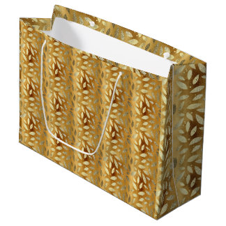 Feuille élégant et brillant d'or grand sac cadeau