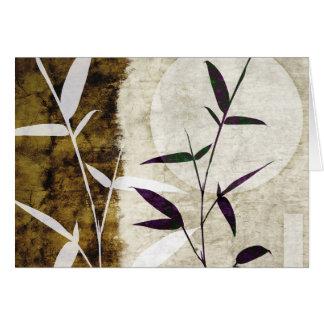 Feuille en bambou d'automne de lune de Brown Cartes De Vœux