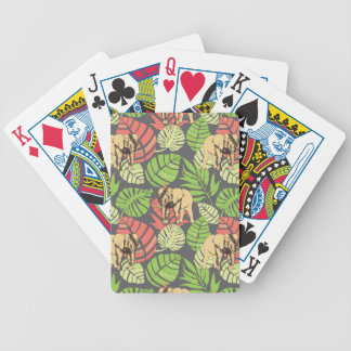 Feuille et éléphants exotiques de jungle jeu de cartes