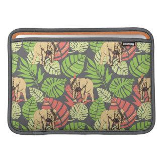 Feuille et éléphants exotiques de jungle poche macbook
