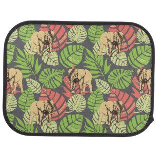 Feuille et éléphants exotiques de jungle tapis de sol