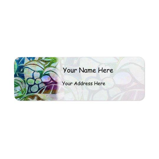 Feuille et fleurs découpés par main - dans étiquette d'adresse retour