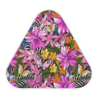 Feuille et fleurs tropicaux haut-parleur bluetooth