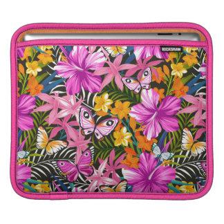 Feuille et fleurs tropicaux housse iPad