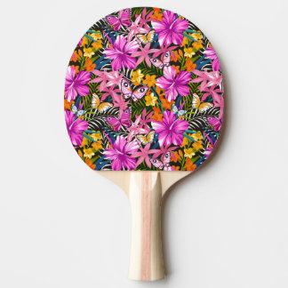 Feuille et fleurs tropicaux raquette de ping pong
