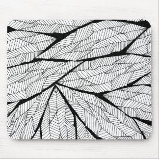 Feuille géométrique abstrait moderne noir et blanc tapis de souris