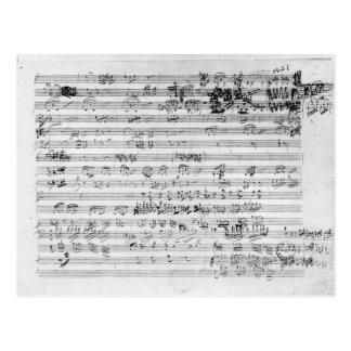 Feuille manuscrite de score pour l'opus de bemol carte postale