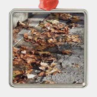 Feuille mort se trouvant au sol en automne ornement carré argenté