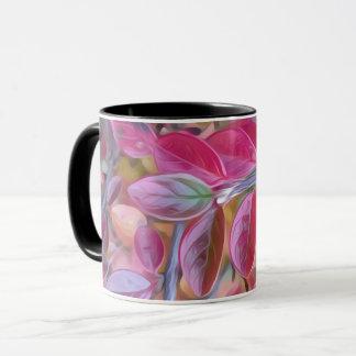 Feuille rose psychédélique sur une tasse