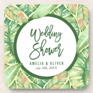 Feuille tropical d'aquarelle de vert de wedding sous-bocks