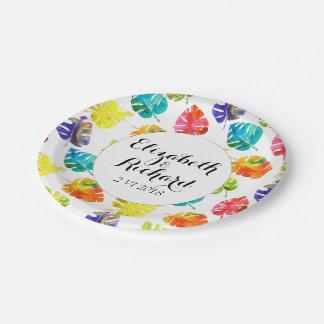 Feuille tropical d'aquarelle épousant le assiettes en papier