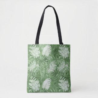 Feuille tropical de blanc de vert d'aquarelle tote bag