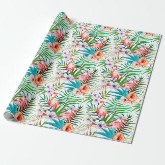 Feuille tropical de fleurs de flamant de paradis papiers cadeaux