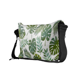 Feuille tropical de vert d'aquarelle sacoche