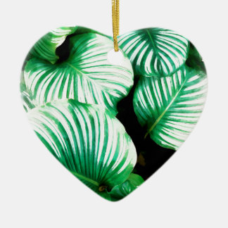 Feuille tropical ornement cœur en céramique