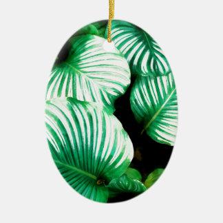 Feuille tropical ornement ovale en céramique