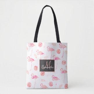 Feuille tropicale de flamant rose à la mode tote bag