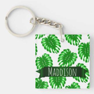 Feuille tropicale de vert de l'adolescence des porte-clé carré en acrylique une face