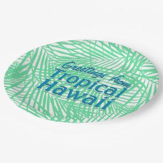 Feuille vert plat tropical assiettes en papier