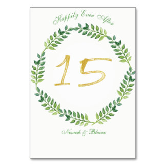 Feuille vert romantique - table card15ring de carte